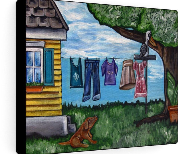 Nola Clothing Line | Various Sizes | Architectural Art |  Home Decor | Canvas Gallery Wrap | Wall Art | Reproduction