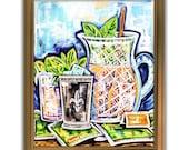 Pitcher Full of Juleps Premium Matte Vertical Poster Print Mint Julep Artwork Various Sizes