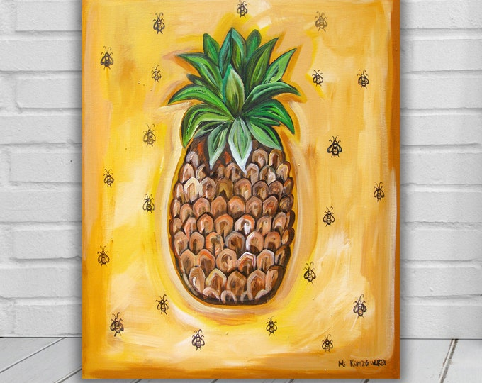 Southern Pineapple | Canvas Gallery Wraps | Yellow Kitchen Wall Art Decor | Various Sizes