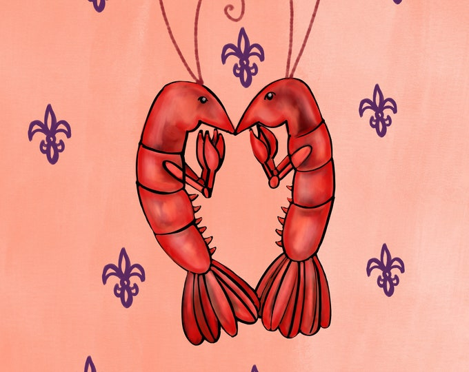 Crawfish Heart | Sherbet and Purple Fleur De Lis |  Canvas Gallery Wraps