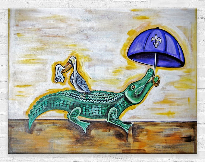 Alligator & Pelican  Parading | Various Sizes | Children's - Nursery Art | Home Decor | Canvas Gallery Wrap | Wall Art | Reproduction