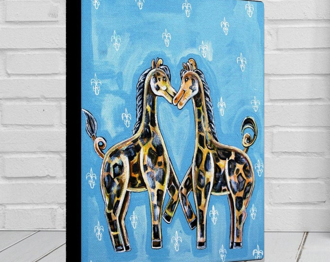Giraffe Heart | Various Sizes | Children's - Nursery Art | Home Decor | Canvas Gallery Wrap | Wall Art | Blue Wall Decor