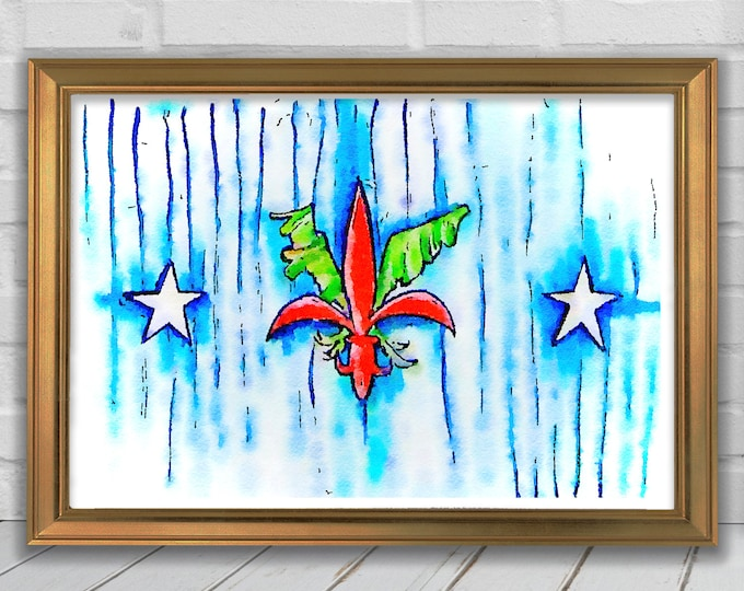 Independence Fleur De Lis | Red, White, & Blue Wall Art | DIY Print JPEG | Watercolor Coastal Wall Decor | Downloable Digital Wall Art