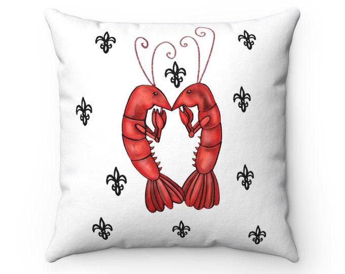 Crawfish Heart | White and Black Fleur De Lis | Spun Polyester Square Pillow
