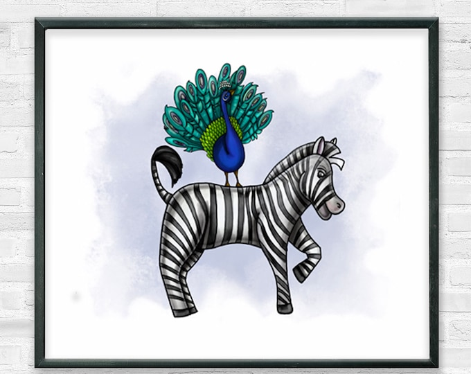 Zebra and Peacock In Blue | Premium Matte Horizontal Print | Animal Nursery Art | Various Sizes