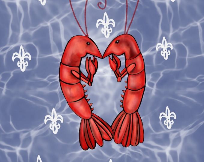 Crawfish Heart | Water Effect and White Fleur De Lis | Canvas Gallery Wraps