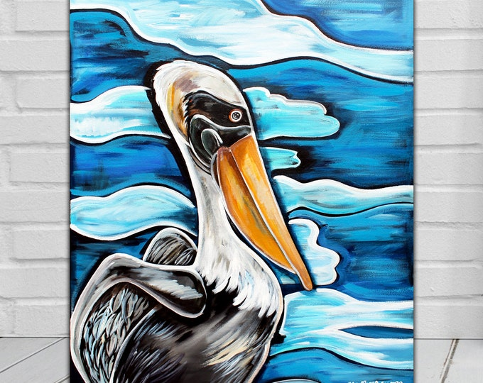Pelican Reflection | Canvas Gallery Wraps | Pelican Painting | Various Sizes