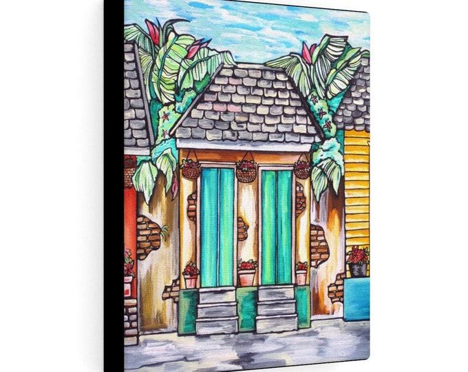 Historic Bourbon Street Home | Various Sizes | Architectural Art | Home Decor | Canvas Gallery Wrap | Wall Art | Reproduction