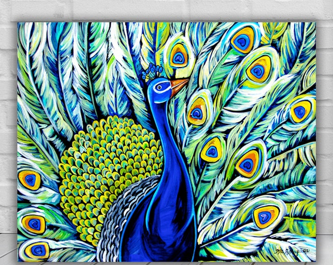 Porthos | Canvas Gallery Wraps | Peacock Painting Wall Art Decor | Various Sizes