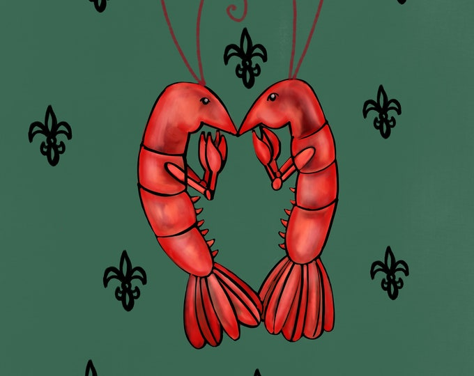 Crawfish Heart   Dark Green and Black Fleur De Lis   Canvas Gallery Wraps