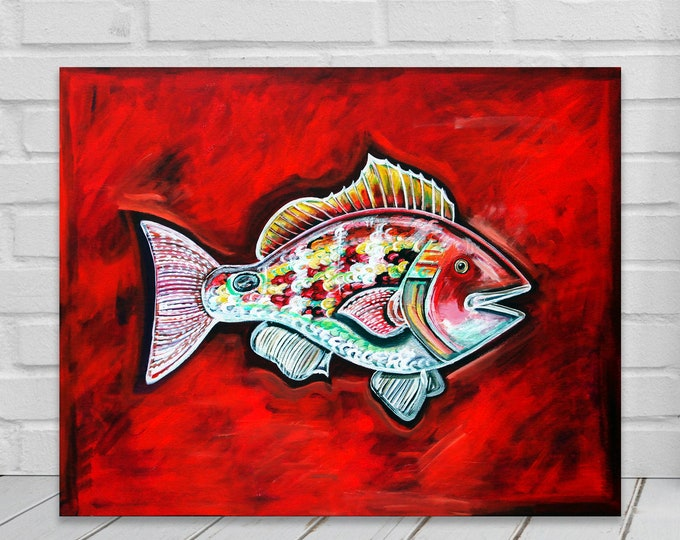 Lane Snapper In Rouge | Canvas Gallery Wraps| Fish Wall Art | Various Sizes
