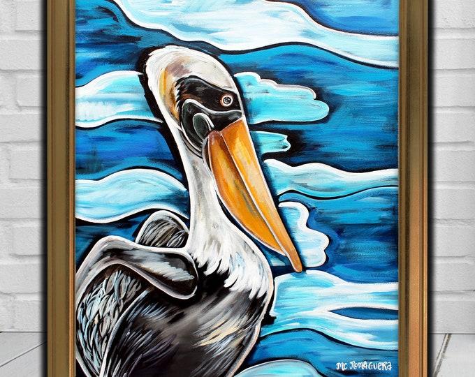 Pelican Reflection | Premium Matte Vertical Poster Print | Pelican Artwork | Various Sizes