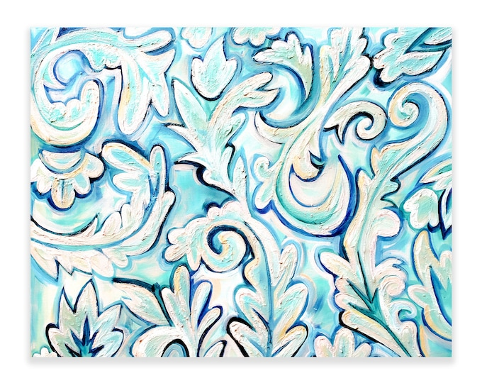 French Blue Abstract | Premium Matte Horizontal Print | Various Sizes