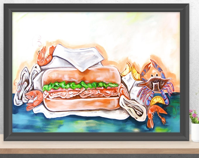 Oyster Po-Boy Seafood | Premium Matte Horizontal Print | Various Sizes