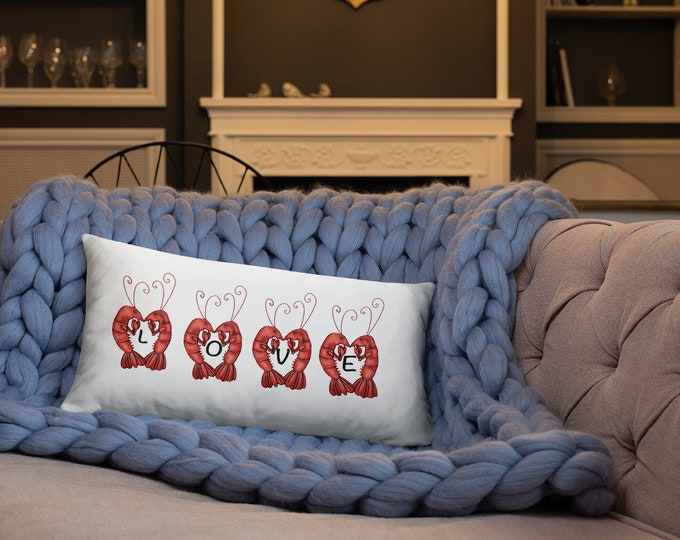 Love | Crawfish Heart | Est. 2019 | Home Decor |  White Basic Pillow