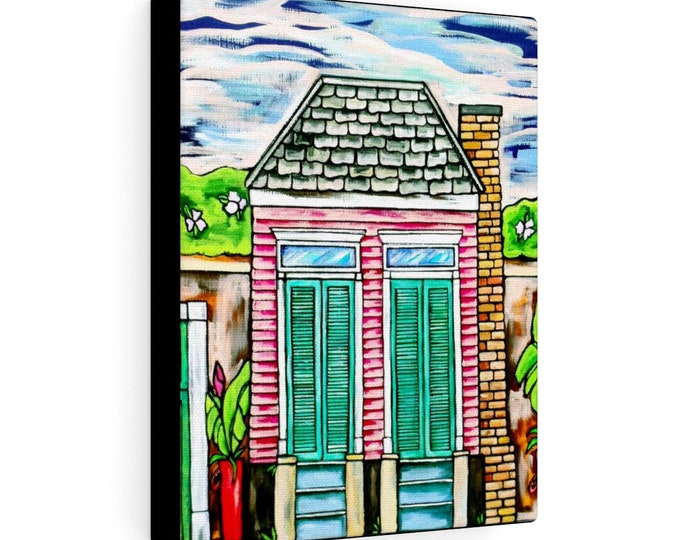 The Pink House | Various Sizes | Architectural Art | Home Decor | Canvas Gallery Wrap | Wall Art | Reproduction