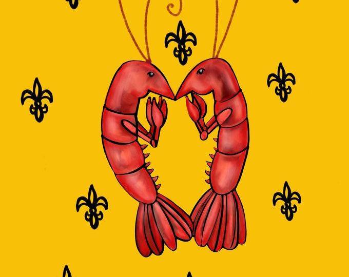 Crawfish Heart | Yellow and Black Fleur De Lis | Canvas Gallery Wraps