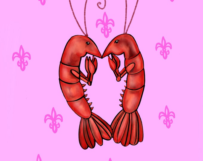 Crawfish Heart | Pink and Pink Fleur De Lis | Canvas Gallery Wraps