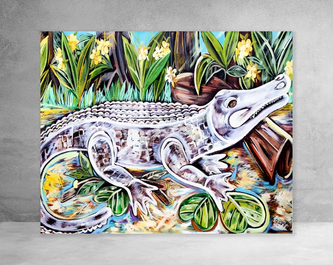 Sunbathing White Alligator | Canvas Gallery Wraps | Various Sizes