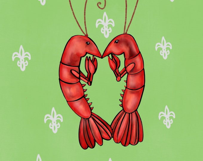 Crawfish Heart | Green and White Fleur De Lis | Canvas Gallery Wraps