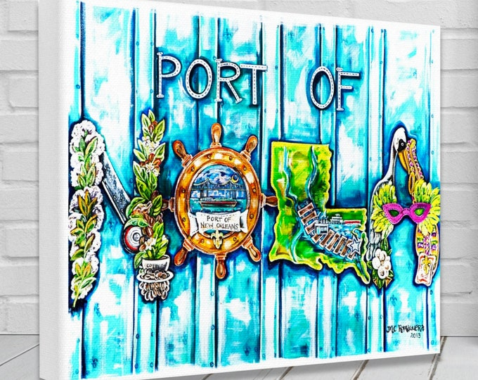 Port of Nola |  Canvas Gallery Wraps | New Orleans Trade and Culture Inspired Wall Art Decor | Various Sizes
