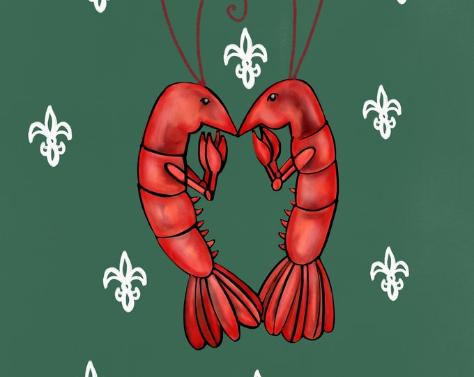 Crawfish Heart | Dark Green and White Fleur De Lis | Canvas Gallery Wraps
