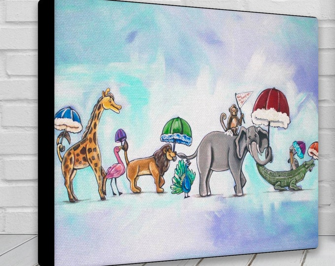 They All Asked For You In Blue   Canvas Gallery Wraps   Parading Animals: Giraffe, Flamingo, Lion, Peacock, Monkey, Elephant, Alligator
