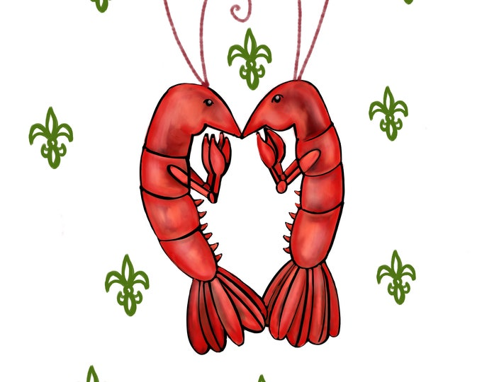 Crawfish Heart | White and Green Fleur De Lis | Canvas Gallery Wraps