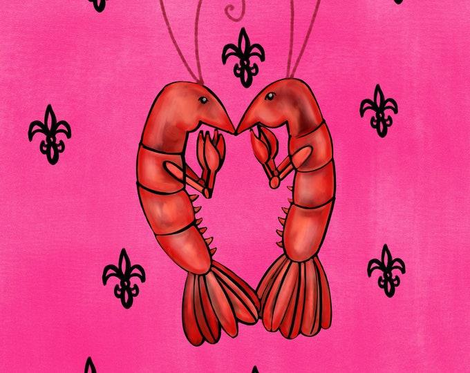 Crawfish Heart   Pink and Black Fleur De Lis   Canvas Gallery Wraps