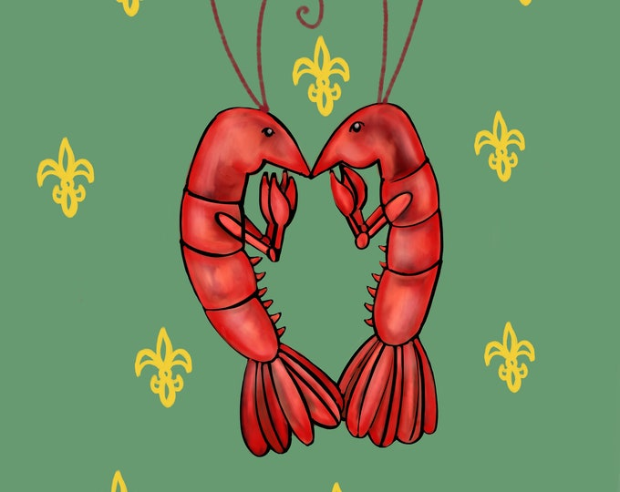 Crawfish Heart | Green and Yellow Fleur De Lis | Canvas Gallery Wraps