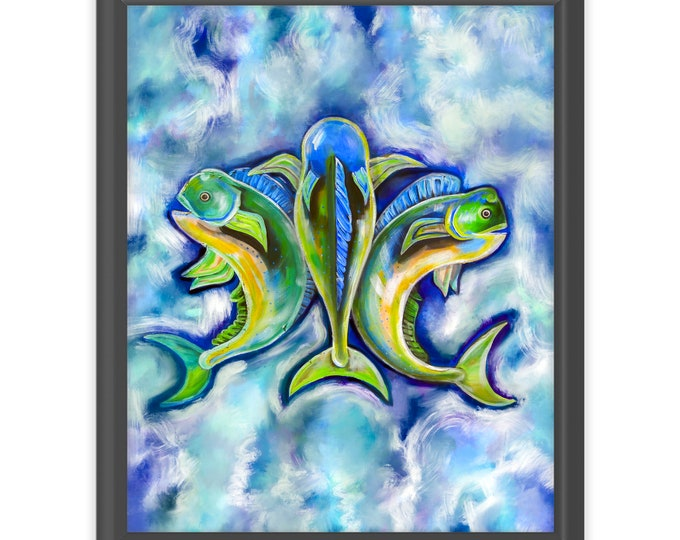 Mahi Mahi De Lis | Dolphin Art |  Premium Matte Vertical Print | Various Sizes | Nautical Print