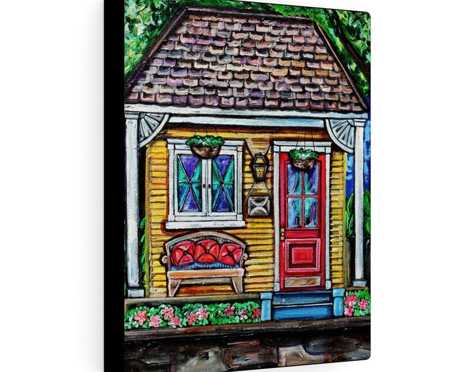 The Yellow Shotgun House | Various Sizes | Architectural Art |  Home Decor | Canvas Gallery Wrap | Wall Art | Reproduction