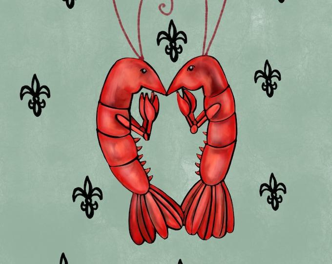 Crawfish Heart | Light Mint Green and Black Fleur De Lis | Canvas Gallery Wraps