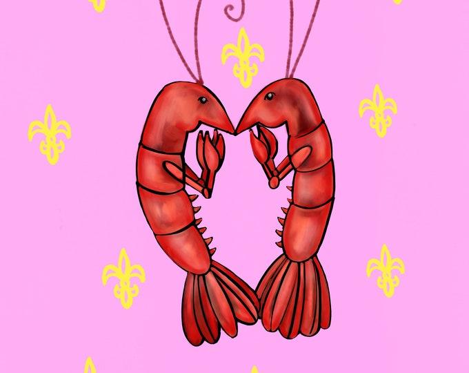 Crawfish Heart | Pink and Yellow Fleur De Lis | Canvas Gallery Wraps
