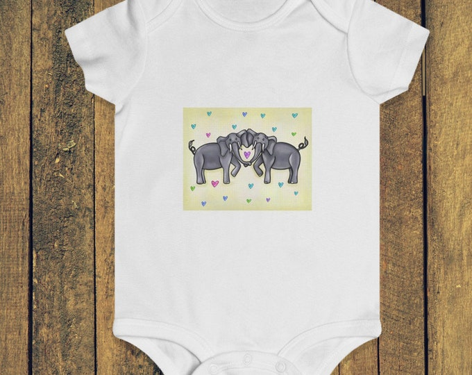 Elephant Heart Yellow |  Infant Rip Snap Tee