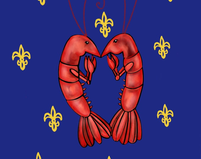 Crawfish Heart | Navy Blue and Yellow Fleur De Lis | Canvas Gallery Wraps