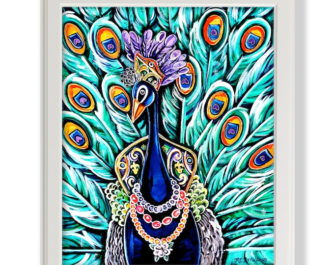 Peacock Maid | Premium Matte Print | Various Sizes | Children Art | Nursery Wall Decor | Mardi Gras Artwork | Vibrant Wallart