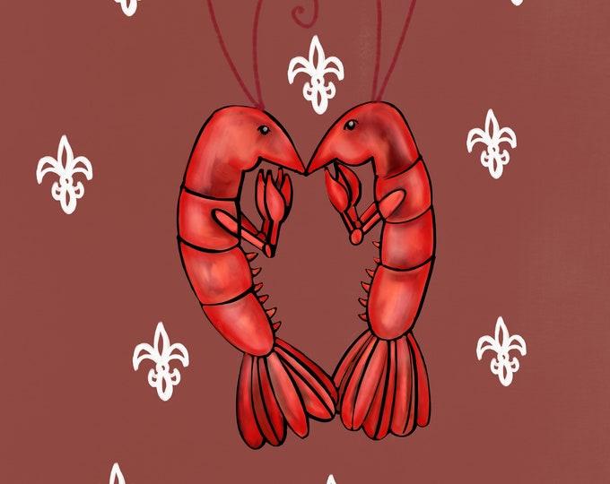 Crawfish Heart   Copper and White Fleur De Lis   Canvas Gallery Wraps