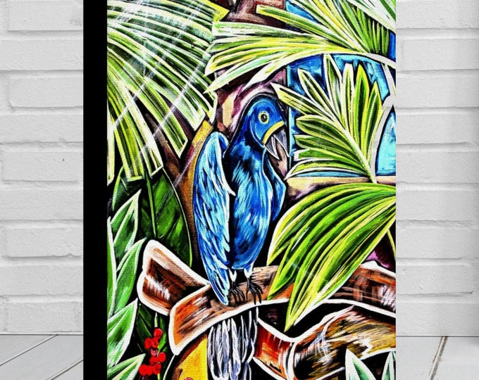 Blue Parrot | Canvas Gallery Wraps | Tropical Painting Wall Art Decor