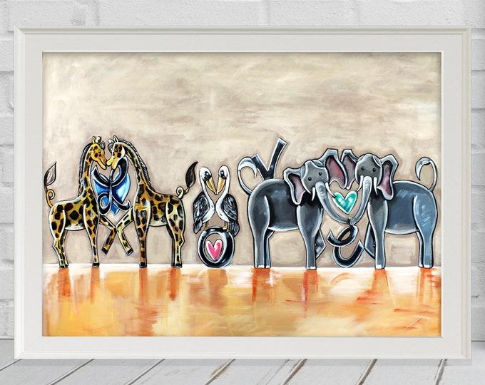 Love It! | Premium Matte Print | Various Sizes | Children Art | Nursery Wall Decor | Children Animal Letter Artwork | Beige and Orange