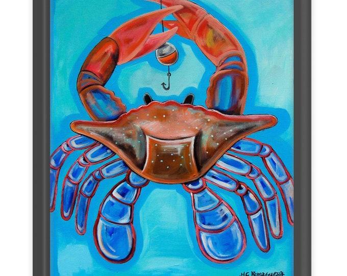 Crab On The Line   Premium Matte Vertical Print   Various Sizes