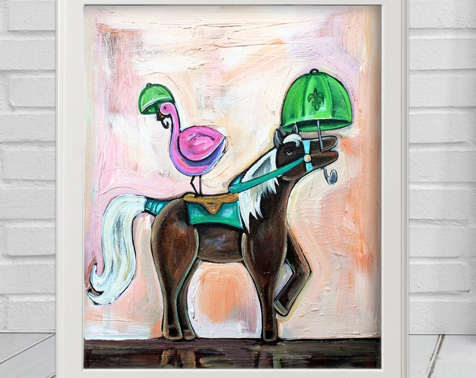 Flamingo and Pony Prancing | Premium Matte Print | Various Sizes | Children Art | Wall Decor | Pink and Brown Wall Art