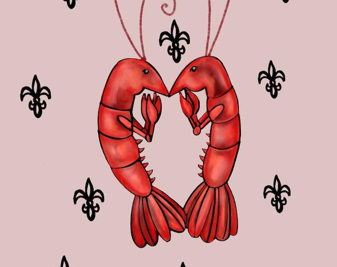Crawfish Heart | Warm Grey and Black Fleur De Lis | Canvas Gallery Wraps