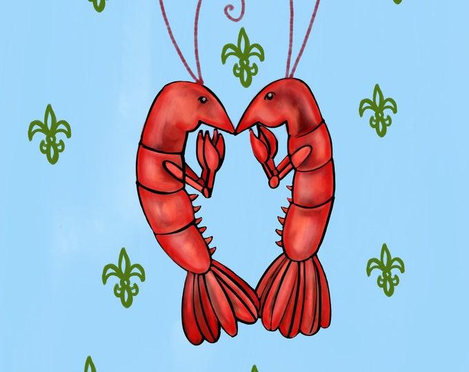 Crawfish Heart   Light Blue and Green Fleur De Lis   Canvas Gallery Wraps