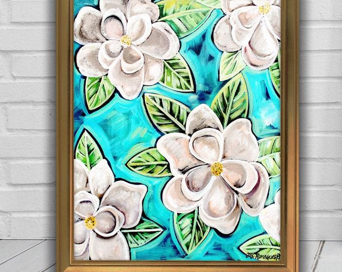 Magnolias In Blue   Premium Matte Vertical Poster Print   Floral Wall Art Decor   Various Sizes