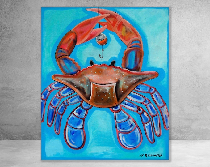 Crab On The Line | Canvas Gallery Wraps | Various Sizes