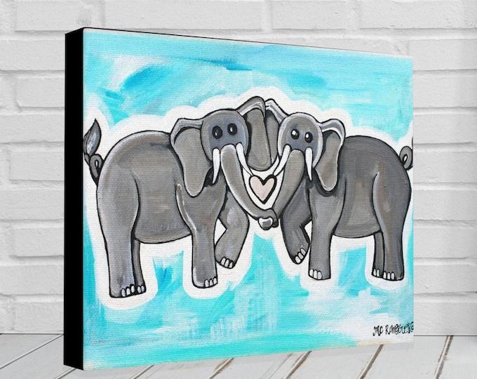 Elephant Heart Blue | Various Sizes | Children's Art | Home Decor | Canvas Gallery Wrap | Wall Art | Blue Wall Decor