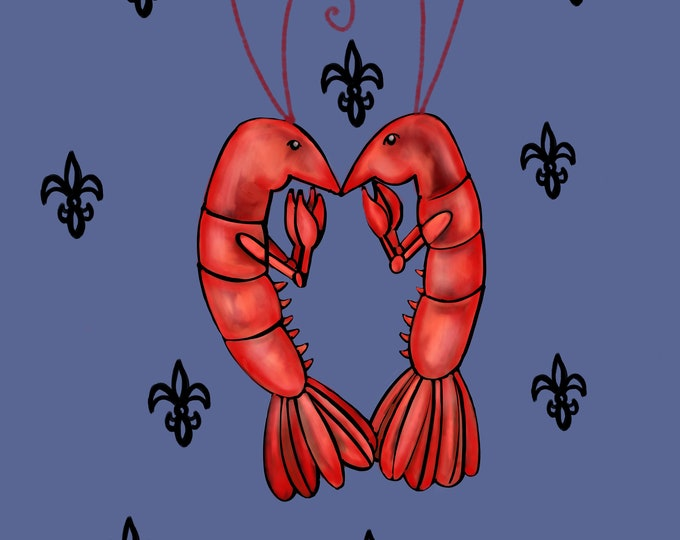 Crawfish Heart | Blue and Black Canvas Gallery Wraps