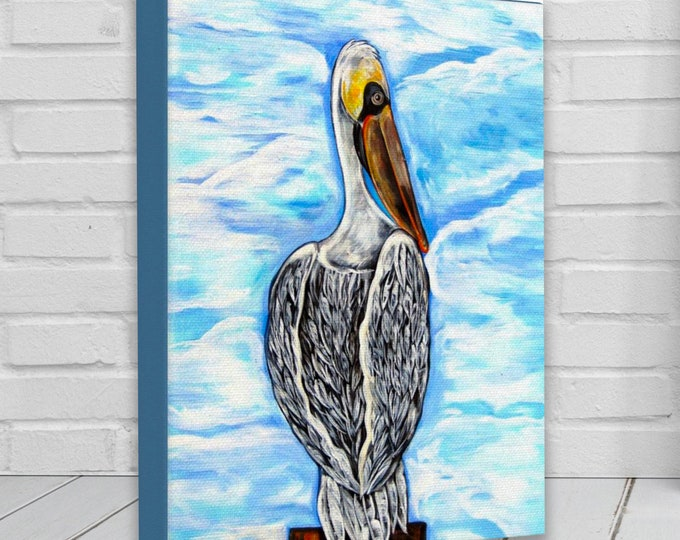 Pontchartrain Pelican | Canvas Gallery Wraps | Pelican Coastal Wall Art Decor