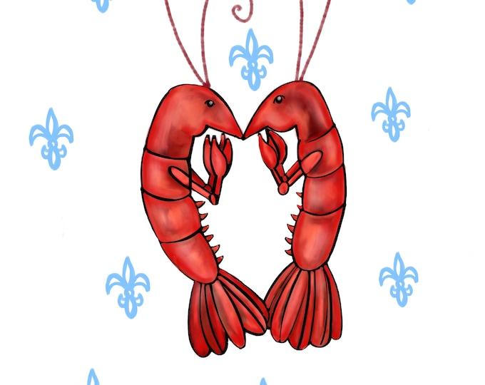 Crawfish Heart | White and Blue Fleur De Lis | Canvas Gallery Wraps